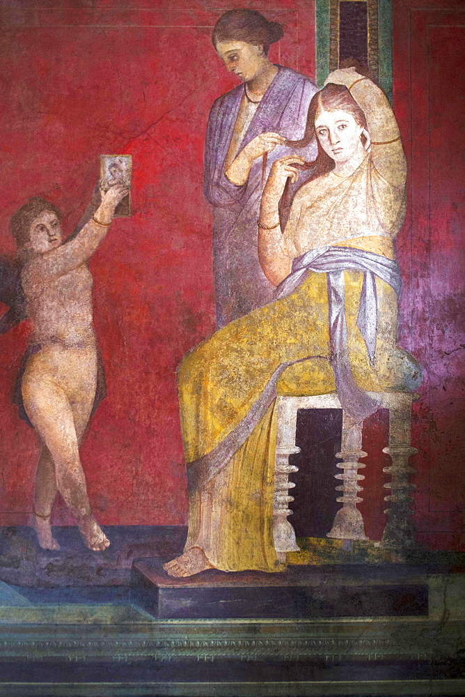 The Baccantis before the feast in the Triclinium in the Villa dei Misteri, Pompeii, UNESCO World Heritage Site, Campania, Italy, Europe - 739-1339