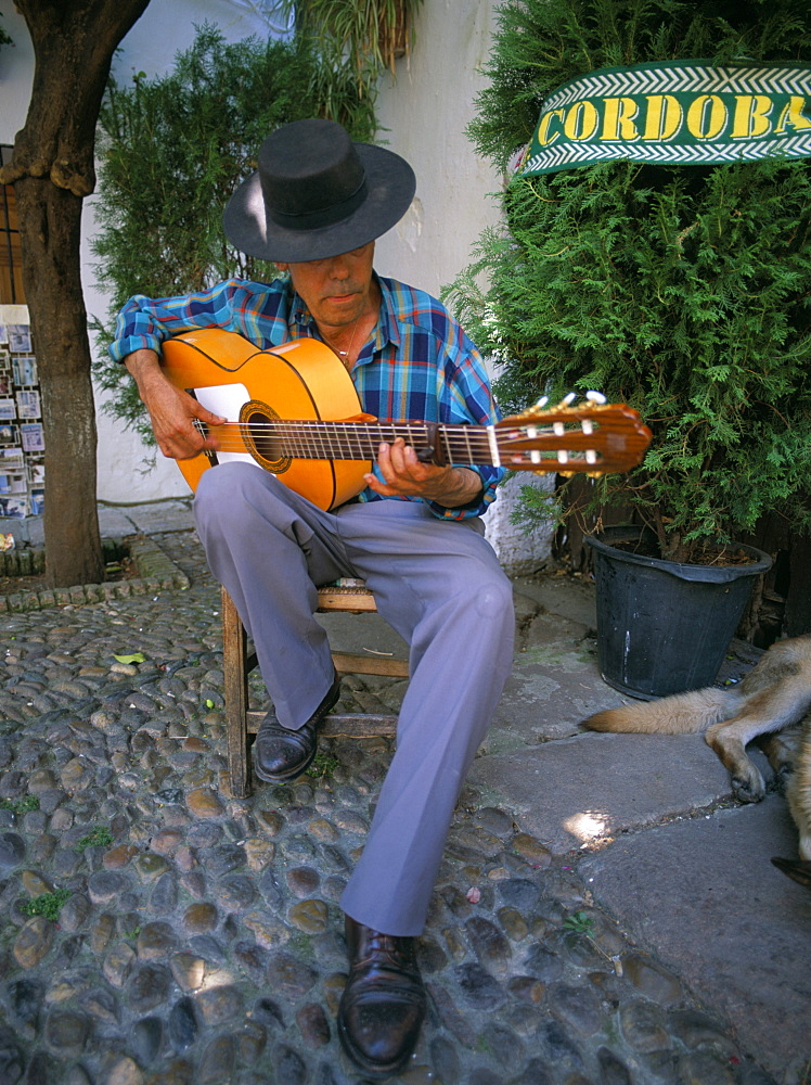 Man playing guitar, Cordoba, Andalucia (Andalusia), Spain, Europe