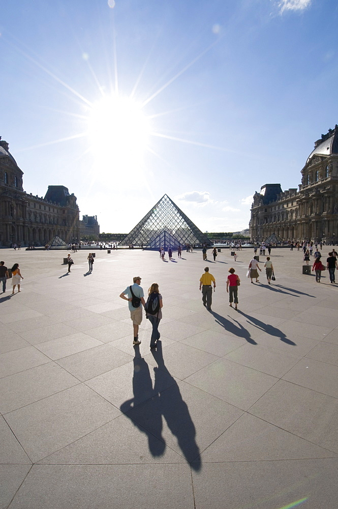 Musee du Louvre and Pei Pyramid, Paris, France, Europe