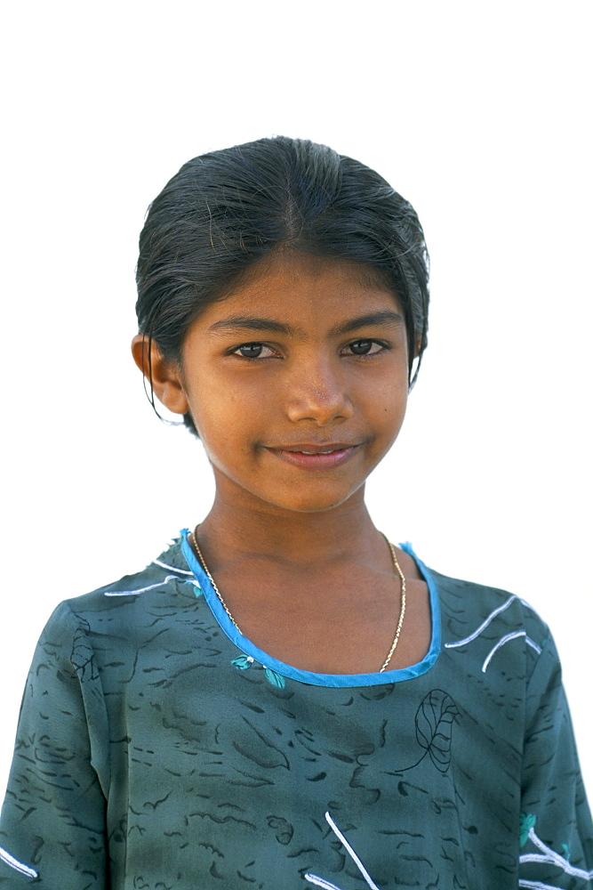 Portrait of a girl, Dharavandu Island, Baa Atoll, Maldives, Asia