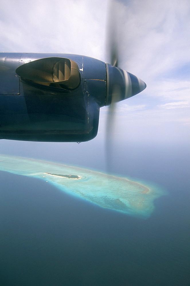 Aerial view of Baa Atoll, Maldives, Indian Ocean, Asia