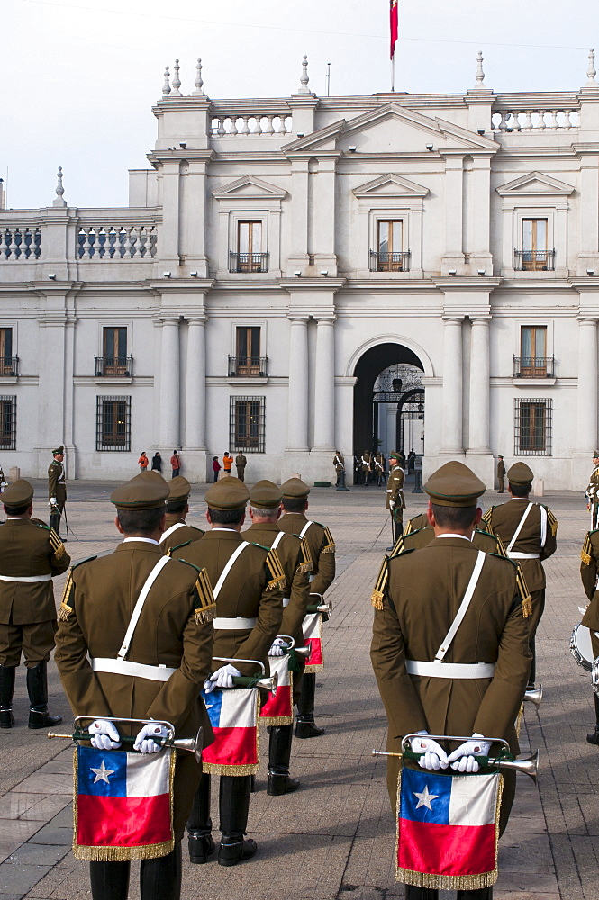Changing of the Guard at Palacio de la Moneda, Santiago, Chile, South America