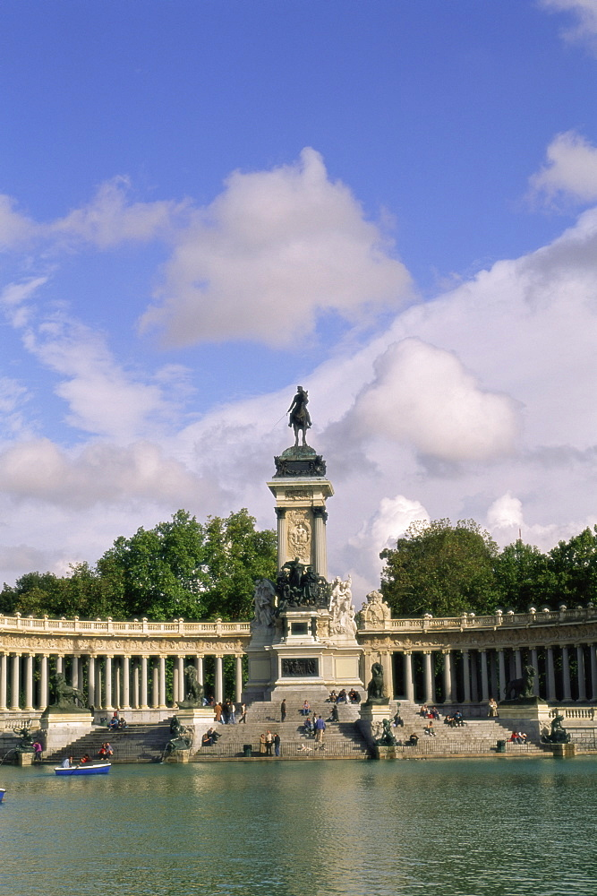Monument to King Alfonso XII in El Retiro park, Madrid, Spain, Europe