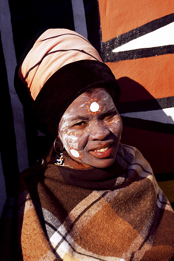 Portrait of a woman with facial decoration, Cultural Village, Johannesburg, South Africa, Africa