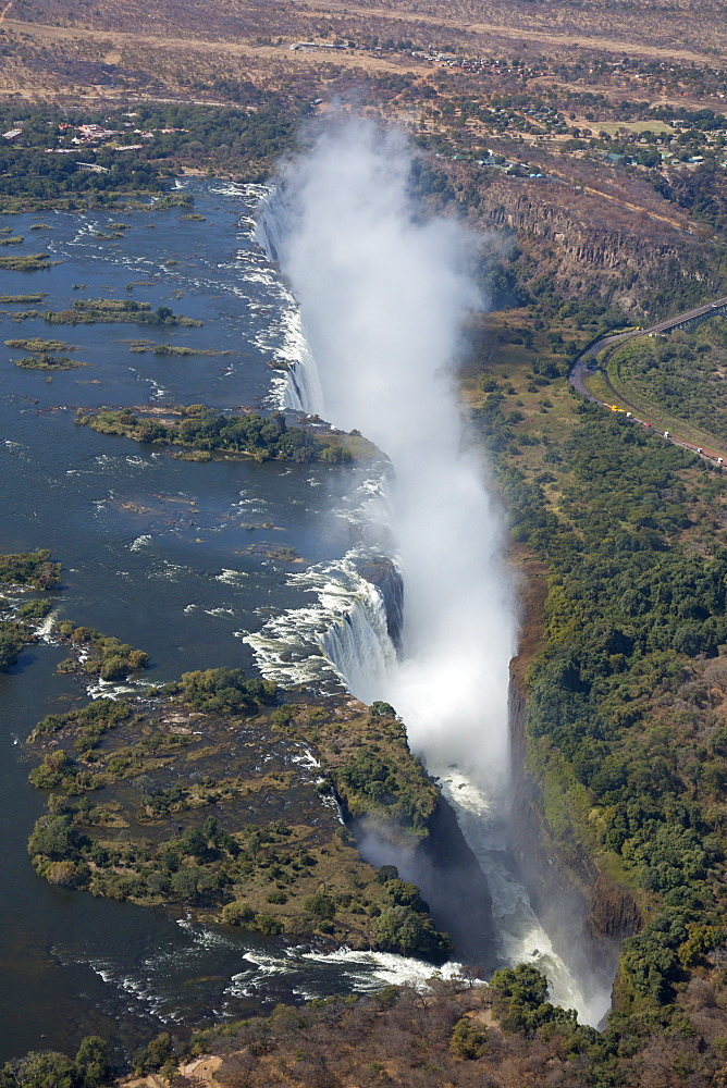 Victoria Falls, aerial view, UNESCO World Heritage Site, Zimbabwe, Africa