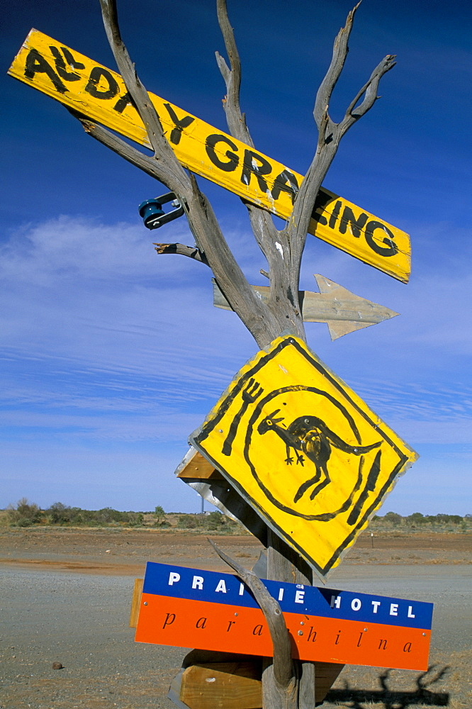 Restaurant sign for feral food, Outback, South Australia, Australia, Pacific