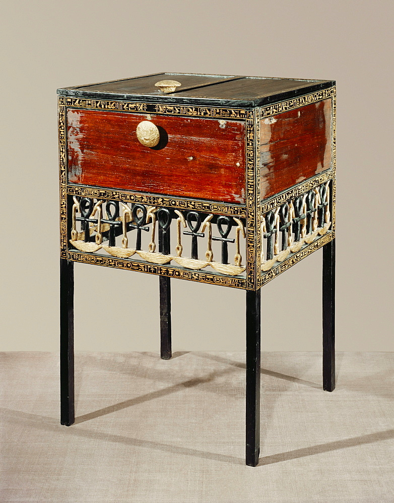 Cedarwood and gilded ebony cabinet decorated with hieroglyphic symbols ensuring divine life, from the tomb of the pharaoh Tutankhamun, discovered in the Valley of the Kings, Thebes, Egypt, North Africa, Africa