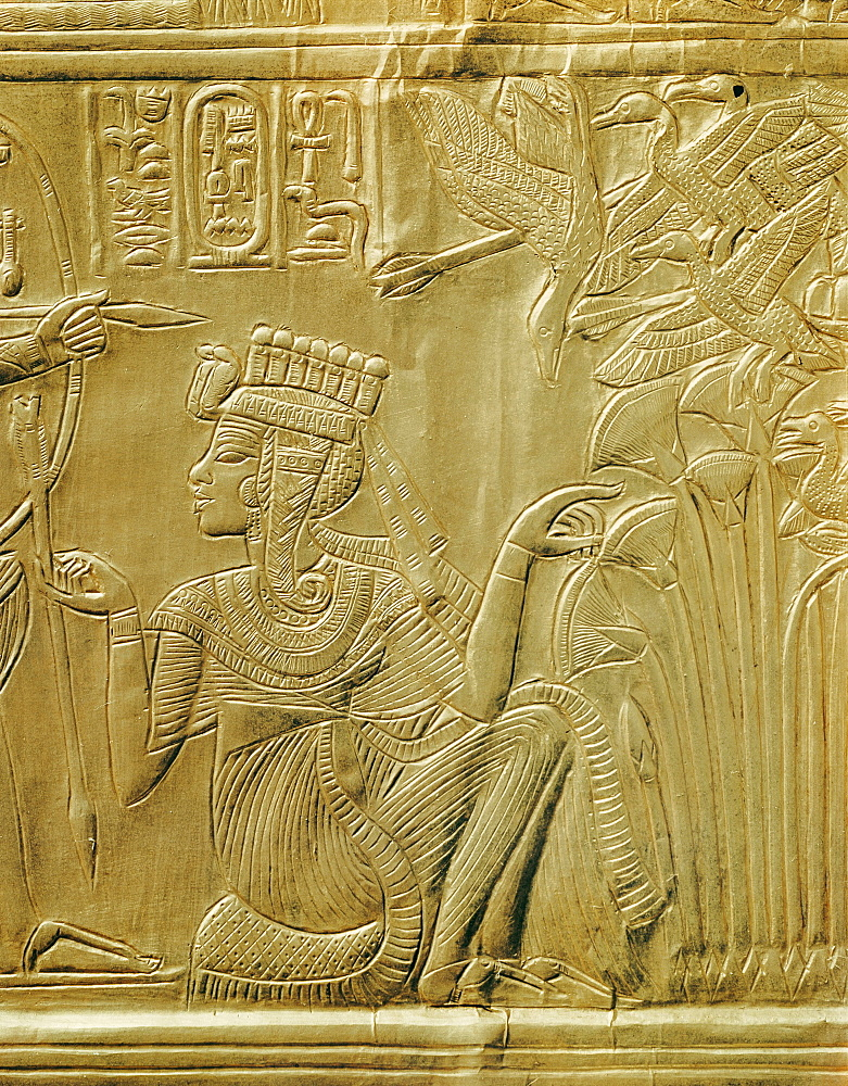 Detail of queen Ankhesenamun on the gilded shrine, from the tomb of the pharoah Tutankhamun, discovered in the Valley of the Kings, Thebes, Egypt, North Africa, Africa