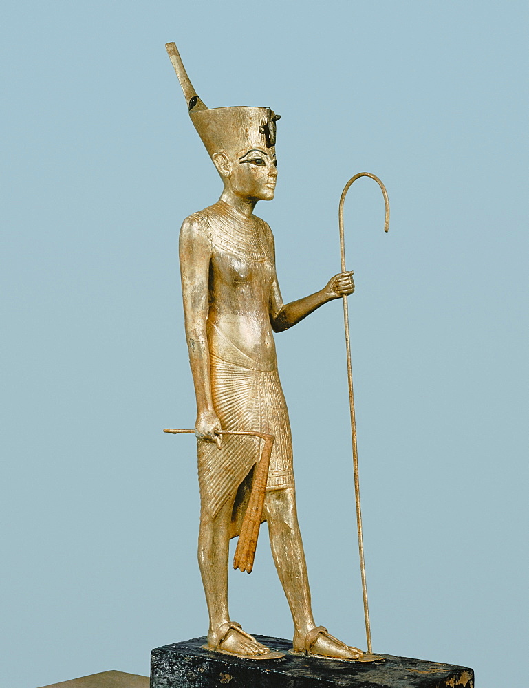 Gilt wood statuette of the king, from the tomb of the pharaoh Tutankhamun, discovered in the Valley of the Kings, Thebes, Egypt, North Africa, Africa
