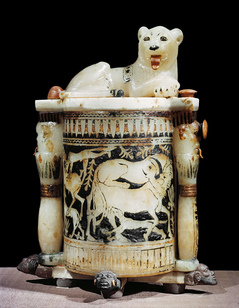Painted alabaster unguent jar showing hunting scene, with the king as a lion, from the tomb of the pharaoh Tutankhamun, discovered in the Valley of the Kings, Thebes, Egypt, North Africa, Africa