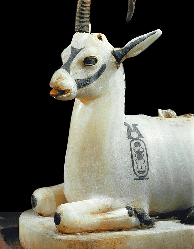 Inlaid alabaster unguent jar in the form of an ibex, with one natural horn, from the tomb of the pharaoh Tutankhamun, discovered in the Valley of the Kings, Thebes, Egypt, North Africa, Africa
