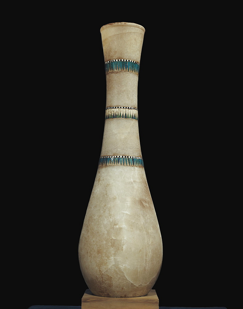 Alabaster vase inlaid with floral garlands, from the tomb of the pharaoh Tutankhamun, discovered in the Valley of the Kings, Thebes, Egypt, North Africa, Africa