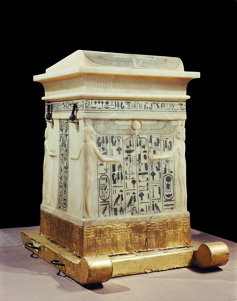 Alabaster canopic shrine, from the tomb of the pharaoh Tutankhamun, discovered in the Valley of the Kings, Thebes, Egypt, North Africa, Africa