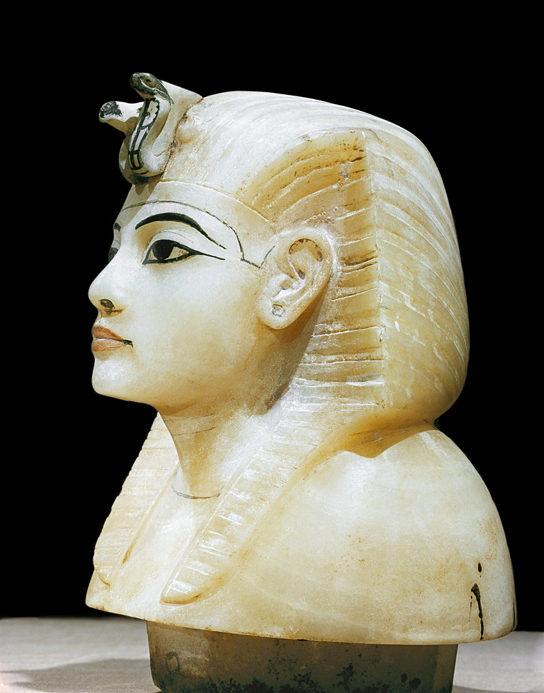 Stopper in the form of the king's head from one of the four canopic urns, from the tomb of the pharaoh Tutankhamun, discovered in the Valley of the Kings, Thebes, Egypt, North Africa, Africa
