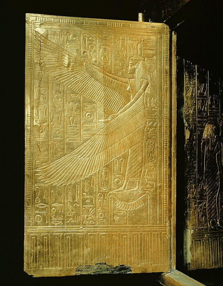 One of the double doors of the gilt shrine showing the goddess Isis, from the tomb of the pharaoh Tutankhamun, discovered in the Valley of the Kings, Thebes, Egypt, North Africa, Africa