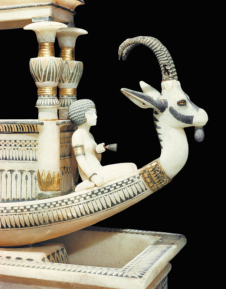 Prow of the alabaster boat showing the head of a Syrian ibex and a figure thought to be princess Mutnedjmet, from the tomb of the pharaoh Tutankhamun, discovered in the Valley of the Kings, Thebes, Egypt, North Africa, Africa