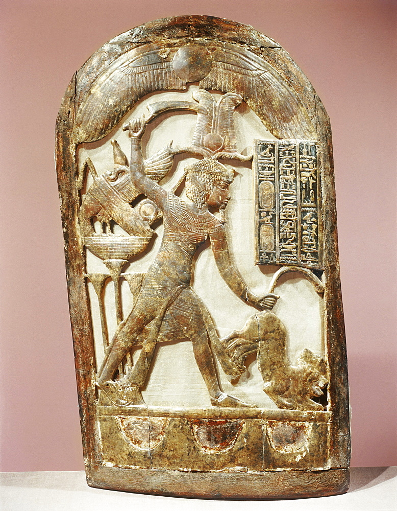 Votive shield showing the king slaying two lions, from the tomb of the pharaoh Tutankhamun, discovered in the Valley of the Kings, Thebes, Egypt, North Africa, Africa