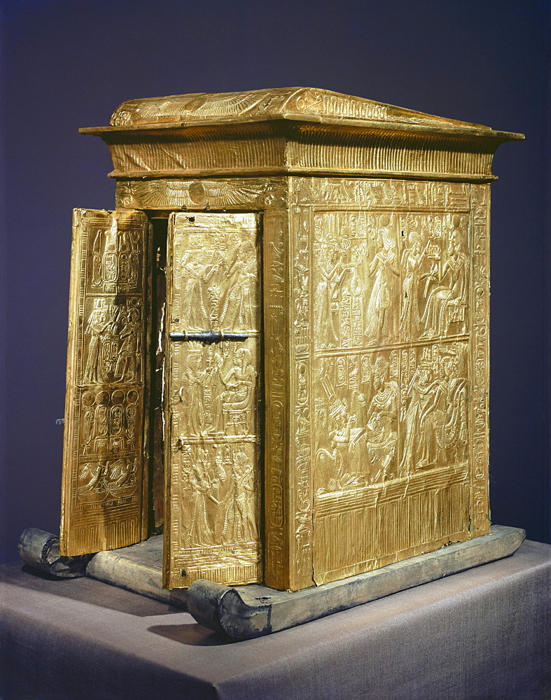 The gilt shrine which originally contained the statuettes of the royal couple in the tomb of the pharaoh Tutankhamun, discovered in the Valley of the Kings, Thebes, Egypt, North Africa, Africa