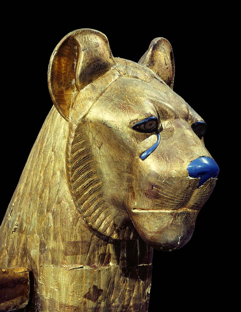 Head of a funerary couch in the form of a cheetah or lion, from the tomb of the pharaoh Tutankhamun, discovered in the Valley of the Kings, Thebes, Egypt, North Africa, Africa
