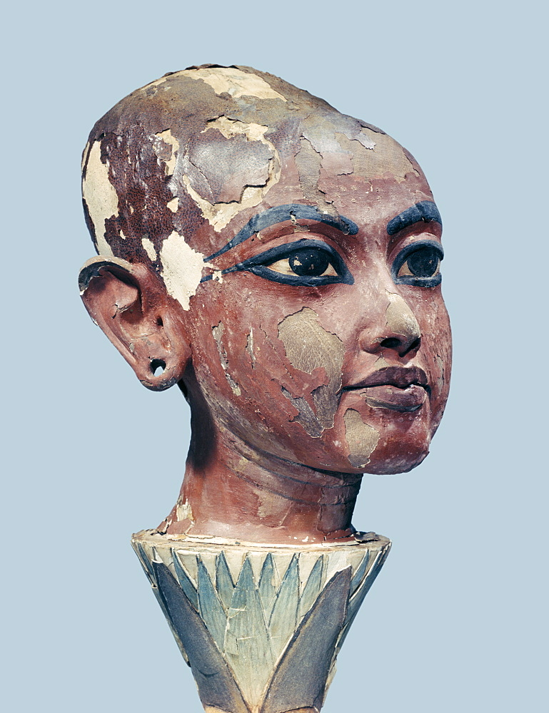Head of the child king emerging from a lotus flower, found at the entrance to the tomb of Tutankhamun, discovered in the Valley of the Kings, Thebes, Egypt, North Africa, Africa