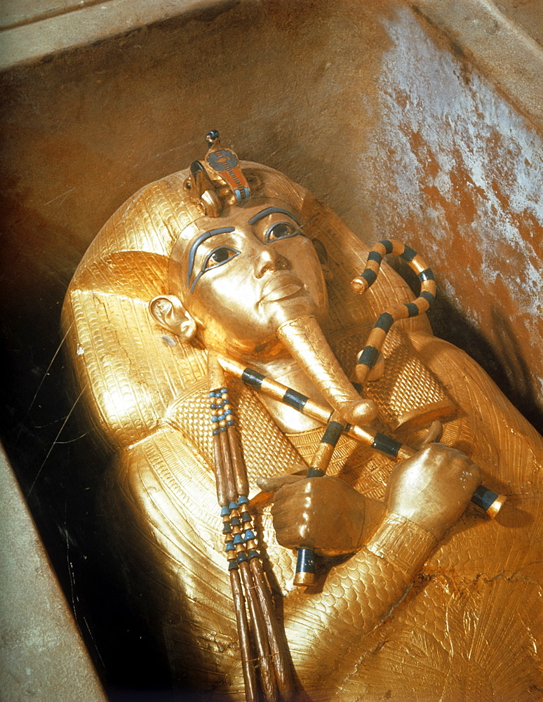 Detail of the second mummiform coffin made from gold-plated wood inlaid with glass-paste, from the tomb of the pharaoh Tutankhamun, discovered in the Valley of the Kings, Thebes, Egypt, North Africa, Africa