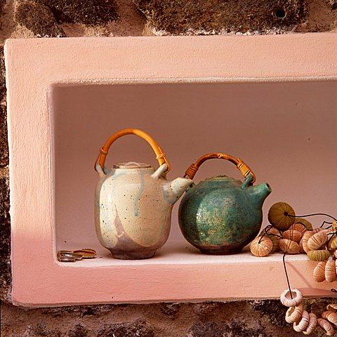 Teapots, Dammuso Adriana, Pantelleria, Sicily, Italy