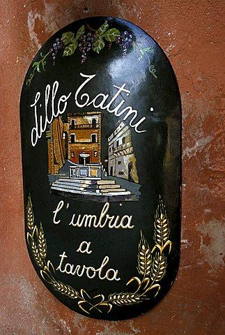 Lillo Tatini's tavern, nameplate, Panicale, Solomeo, Umbria, Italy