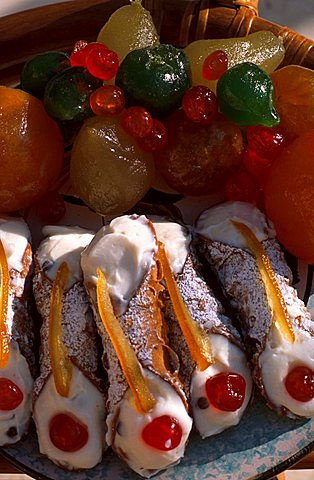 Cannolo and candied fruit, Scopello, Sicily, Italy