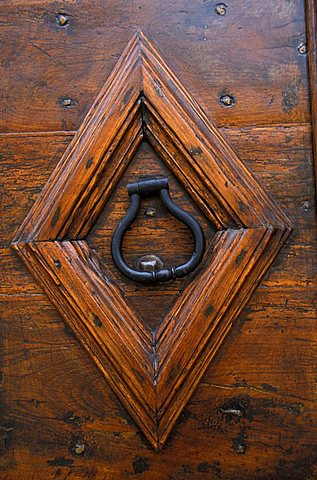 Door in the historical centre, Matelica, Marche, Italy