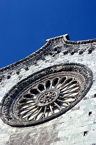 Rose window of the Cathedral, Ostuni, Val d'Itria, Puglia, Italy