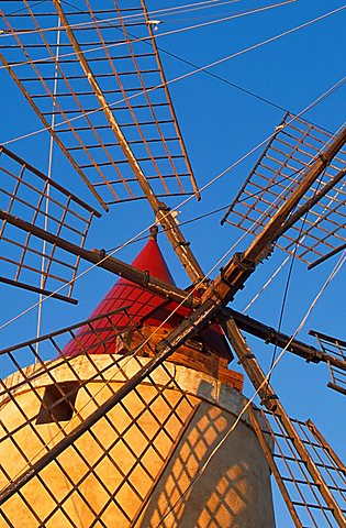 Windmill in the saltworks, Marsala, Sicily, Italy