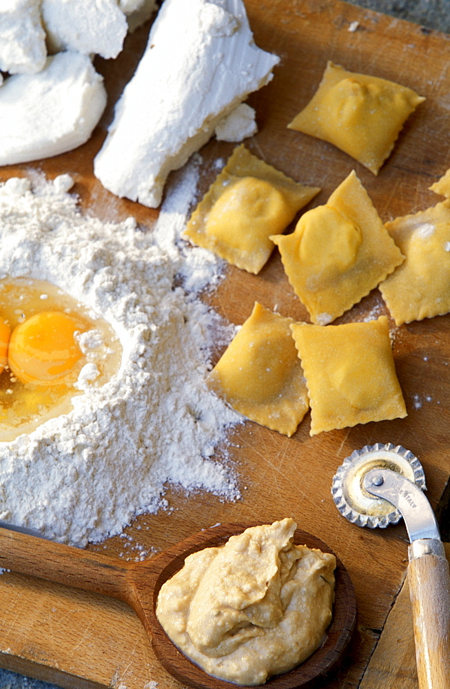 Bruss cheese, ravioli with Bruss, Racconigi, Piedmont, Italy