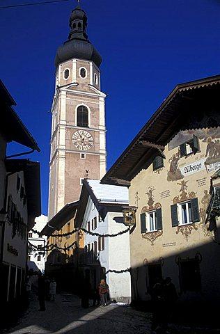 Foreshortening of the city, Castelrotto, Trentino Alto Adige, Italy.