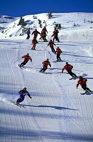 Skiing school, Pila, Valle d'Aosta, Italy