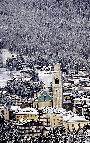 Cityscape, Cortina d'Ampezzo, Veneto, Italy