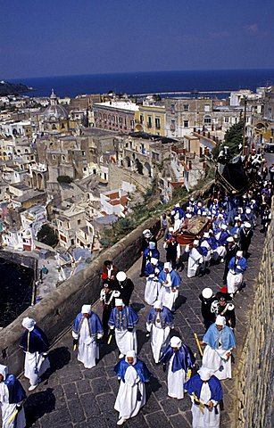 The procession of the Good Friday going to Terra Murata historic centre, Island of Procida, Campania, Italy