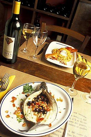 Sea bass, Le Cantine Squarciafico restaurant, Genoa, Ligury, Italy