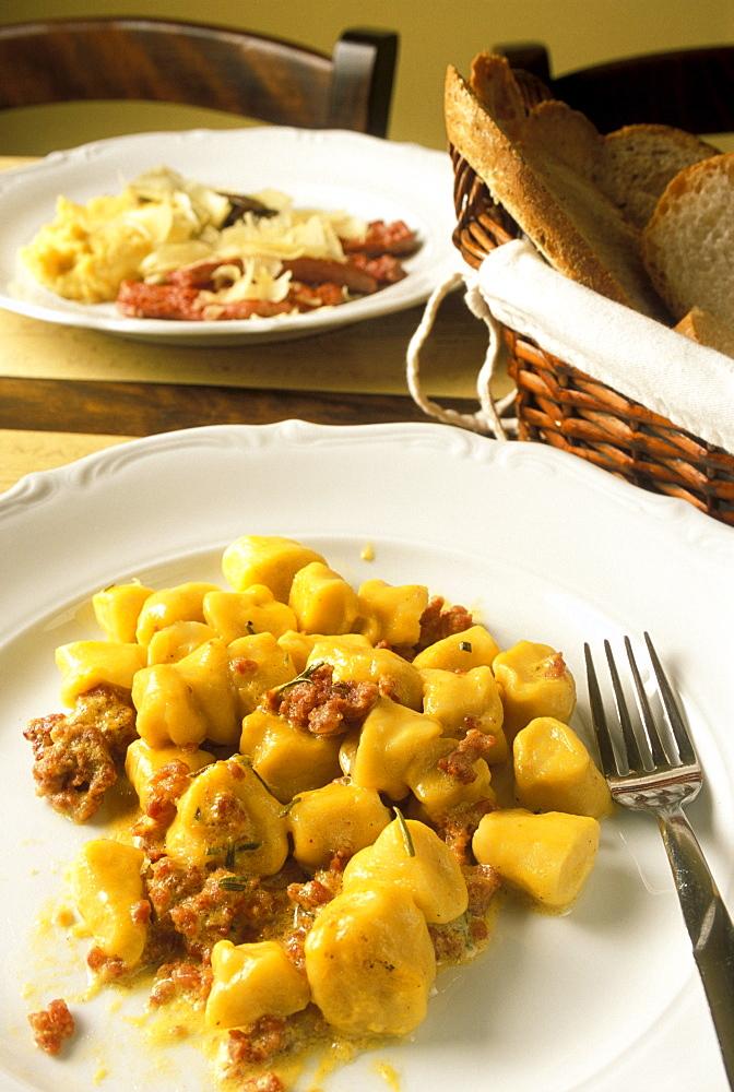 Gnocchi with saffron and Bagoss cheese, La Vineria restaurant, Brescia, Lombardy, Italy