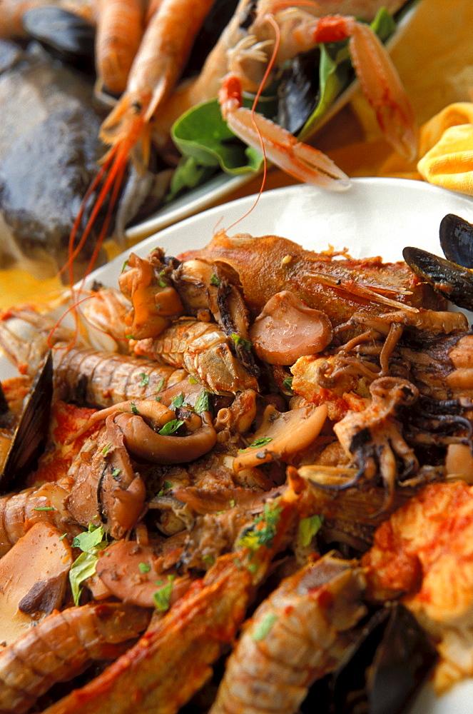 Cacciucco, Typical Italian food, La Barcarola Restaurant, Livorno, Tuscany, Italy
