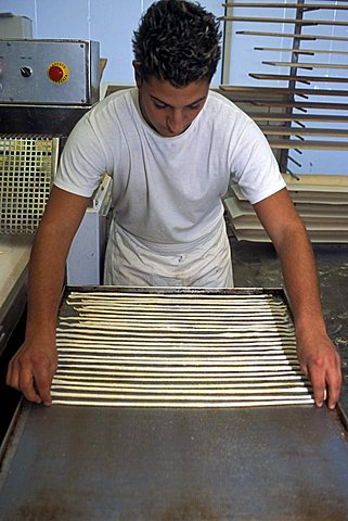Preparation of breadstick, Il Germoglio bakery, Acqui Terme, Piedmont, Italy.