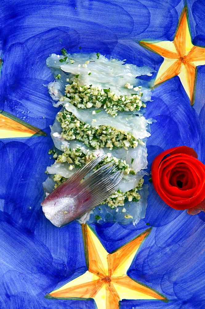 Pickled codfish with cheese cream, Orestorante restaurant, Ponza island, Lazio, Italy