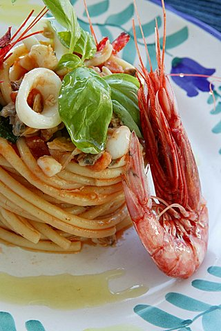 Bucatini pasta with fish amatriciana sauce, Orestorante restaurant, Ponza island, Lazio, Italy