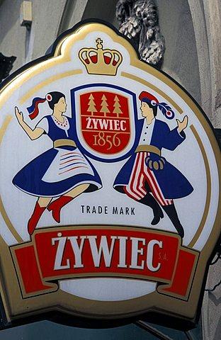 Polish beer logo, Cracow, Poland, Europe