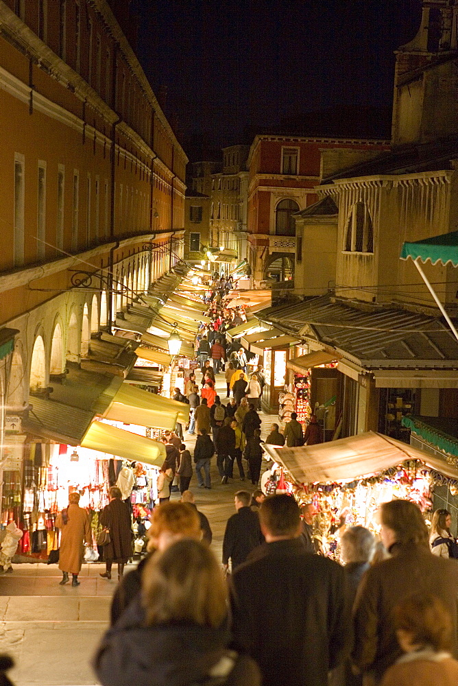Christmas lights under Rialto Bridge, Venice, Veneto, Italy
