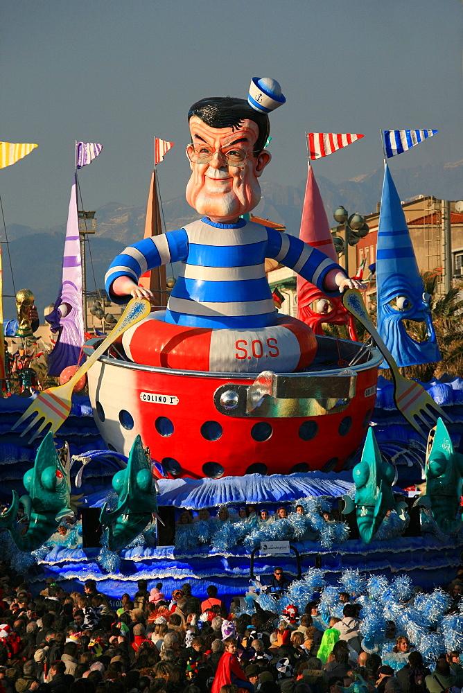 Romano Prodi mask, Carnival 2007, Viareggio, Tuscany, Italy - 746-33159