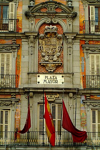 Casa de la Panadería façade and Plaza Mayor sign, Madrid, Spain, Europe