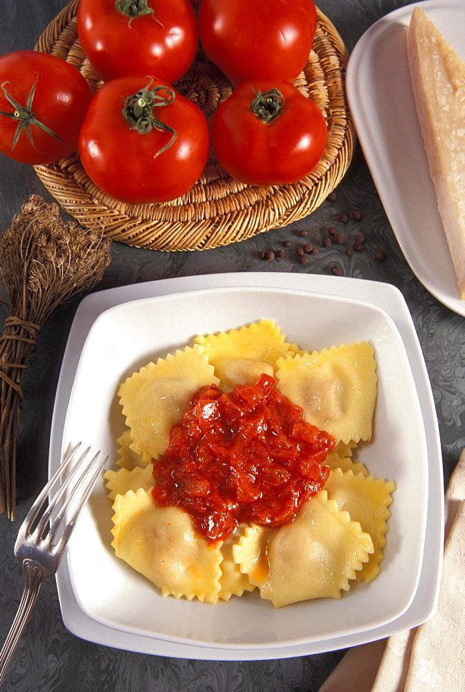 Ravioli with tomato, Italy