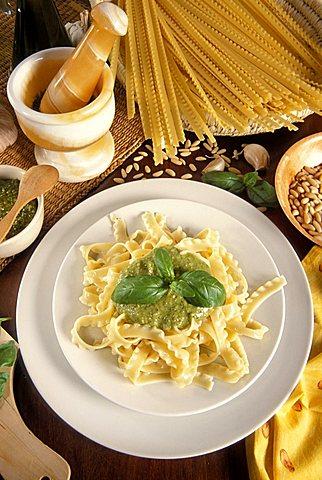 Trenette pasta with pesto sauce, Italy