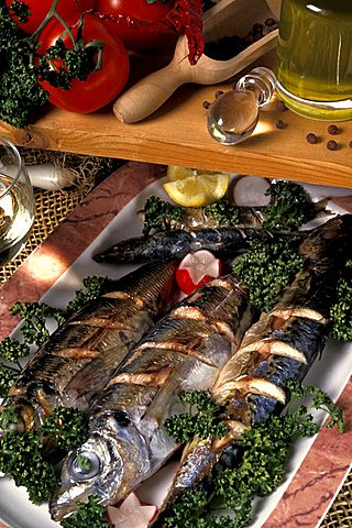 Roast mackerels, Italy