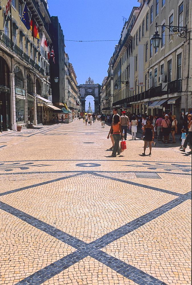 Foreshortening, Rua Augusta, Lisbona, Portugal, Europe